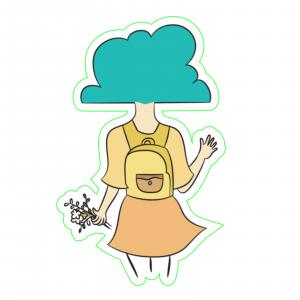 Sticker Cu capul in nori