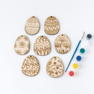 set de creatie ouă din lemn